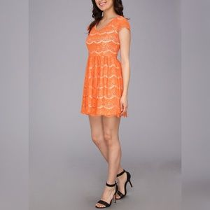 KENSIE Women's Orange Floral Lace Dress Size Small